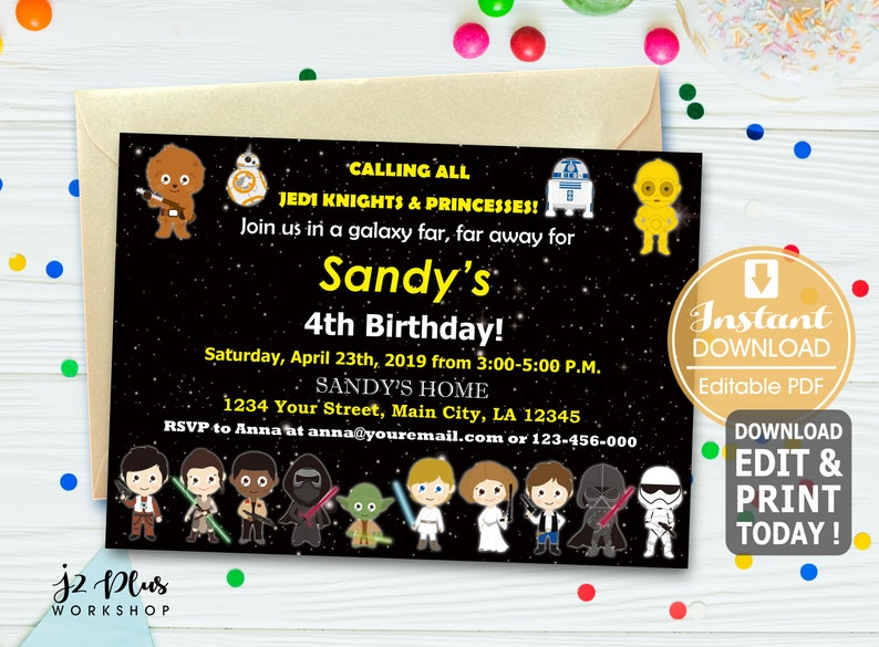 INSTANT DOWNLOAD Star Wars Birthday Invitation Card