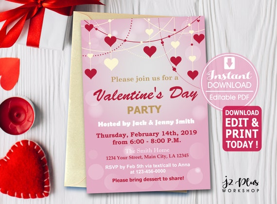 Instant Download Pink Heart Valentine Invitation Card Valentines Day Party Invitation Valentine Party Diy Editable Pdf