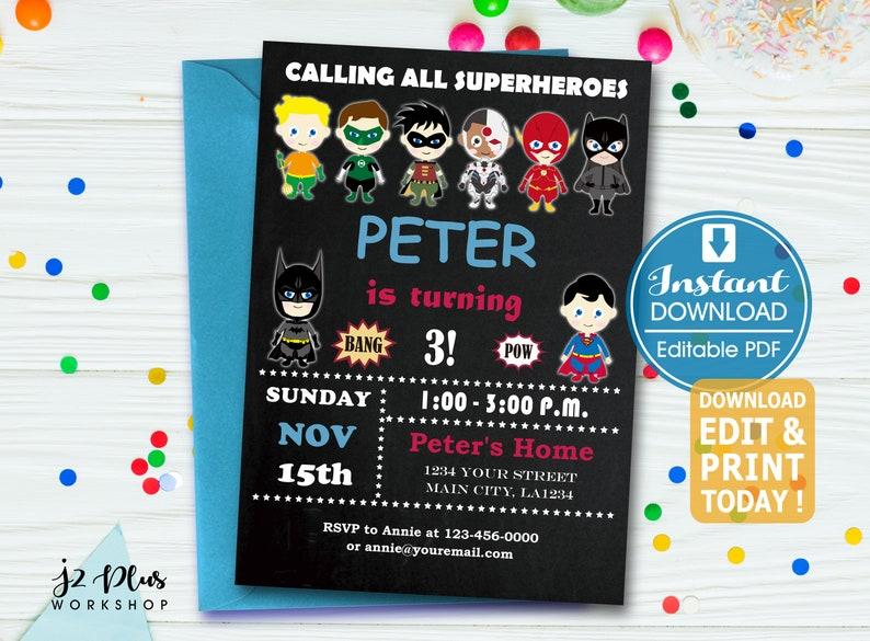 INSTANT DOWNLOAD Justice League Birthday Invitation Superhero