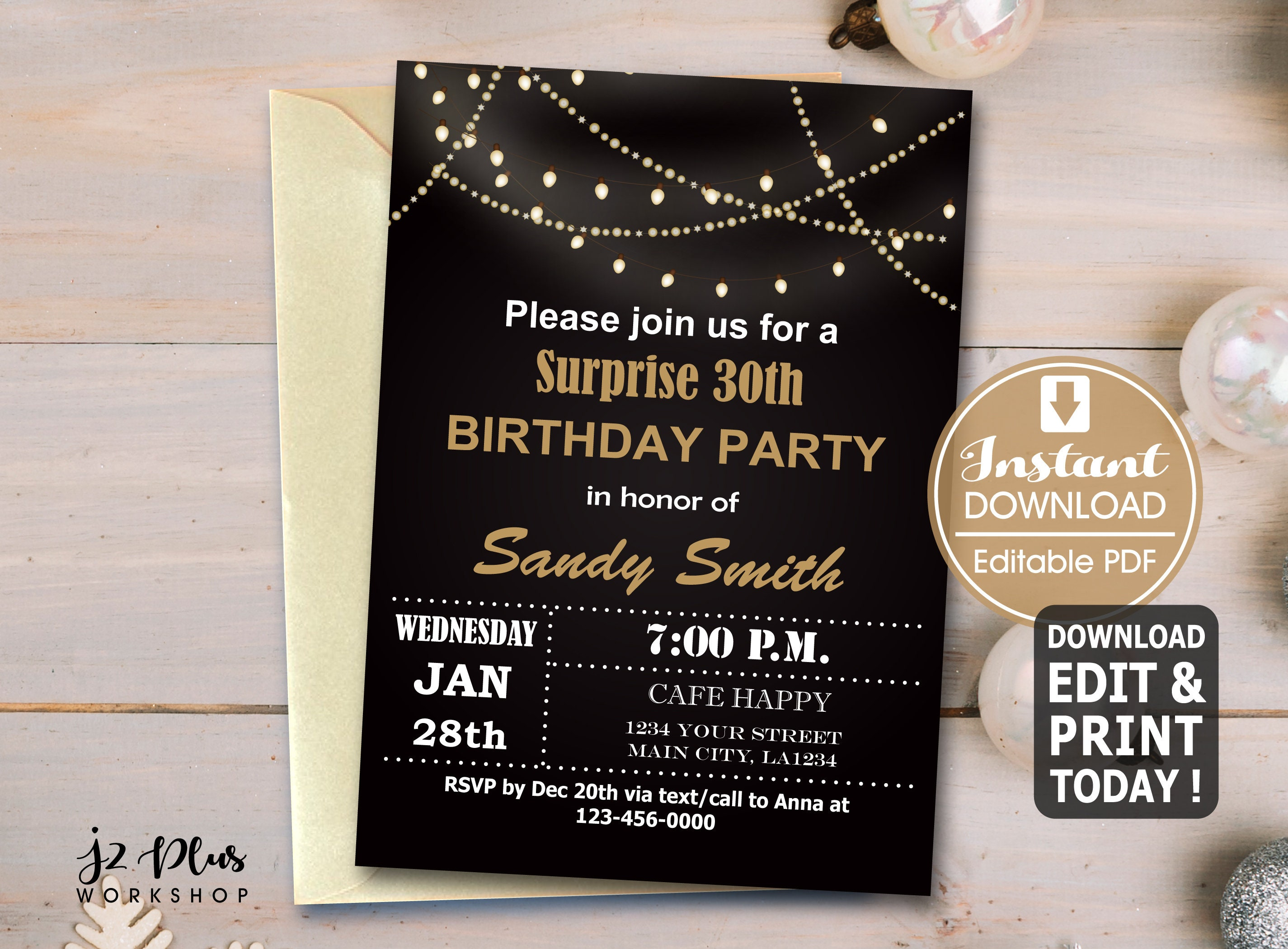 INSTANT DOWNLOAD Birthday Invitation Instant Download Light