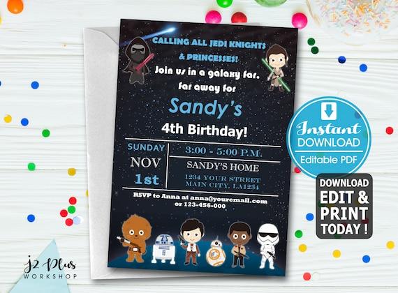 Instant Download Star Wars Birthday Invitation Card Star Wars Birthday Party Invitations Star Wars Invitation Invites Diy Editable Pdf