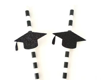 Graduation Party Paper Straws - Set of 12