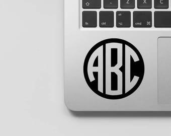 Circle Monogram Decal - Laptop Sticker, Car Window Monogram