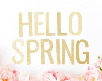 Hello Spring Banner - Glitter Spring Banner, Easter Banner, Spring Party Decor, Spring Home Decor