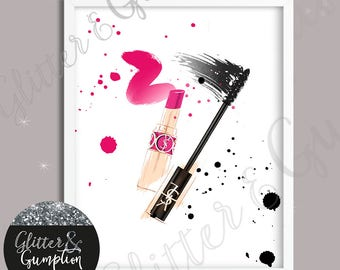 Watercolour abstract YSL mascara Poster Modern Design decor Fashion wall art beauty room