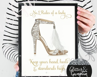 Rules of a lady fashion print , jimmy choo , gift idea , home decor,gift idea