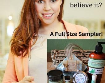 Emu Oil Product Sampler - Lotion, Lip Balm, Soap, Hand Balm, Emu Oil