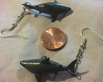 Shark Attack Ear Rings! Oceanic jaws worthy shark dangle fish madness! Edgy punk metal horror