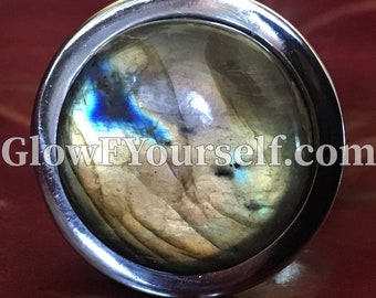 Large Labradorite butt plug - stainless steel or gold toned, for mature adults only