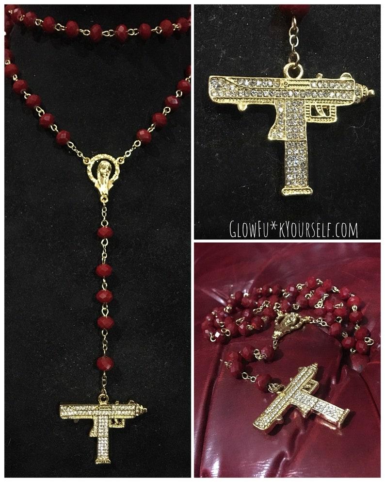 14k gold plated uzi rosary image 0
