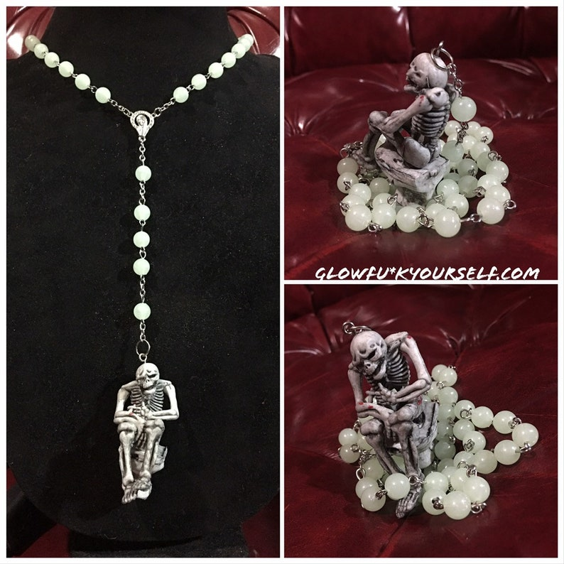 Tsps glow in the dark skeleton rosary For those Hail Mary image 0
