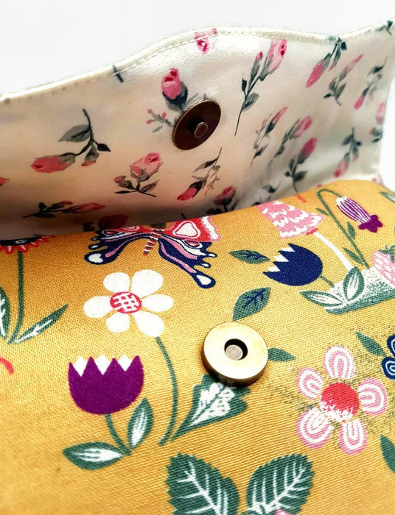 Gifts for girls Small make up pouch Floral coin pouch Mustard floral purse Make up holder Snap pouch Credit card holder Floral purse