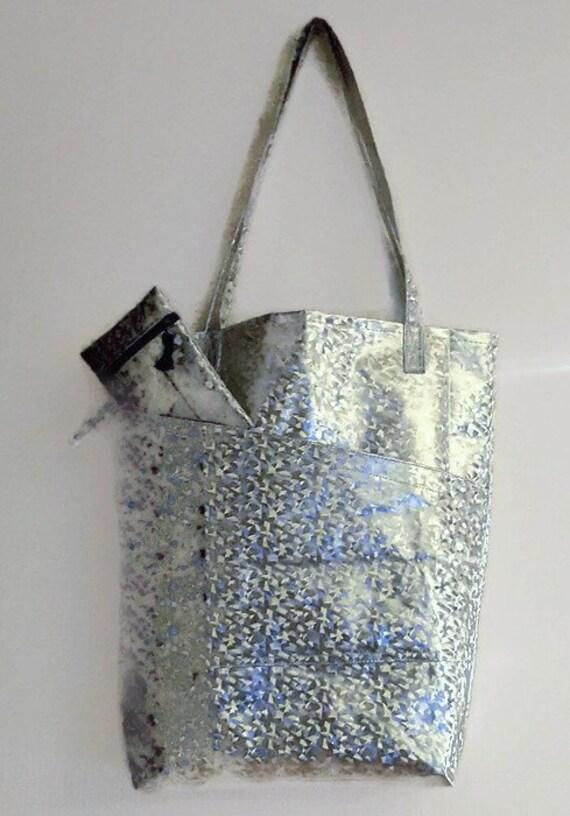 Einkaufstasche Silber Tasche Shopper großer Markt-Tasche   Etsy