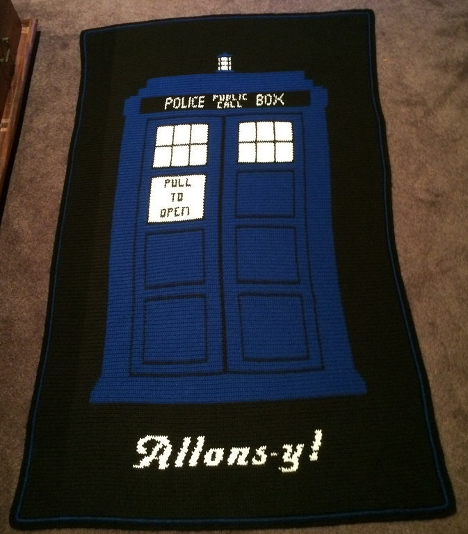Doctor Who Tardis Allons Y Themed Crochet Blanket Etsy