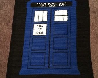 """Doctor Who TARDIS """"Geronimo!"""" crochet blanket - PATTERN ONLY"""