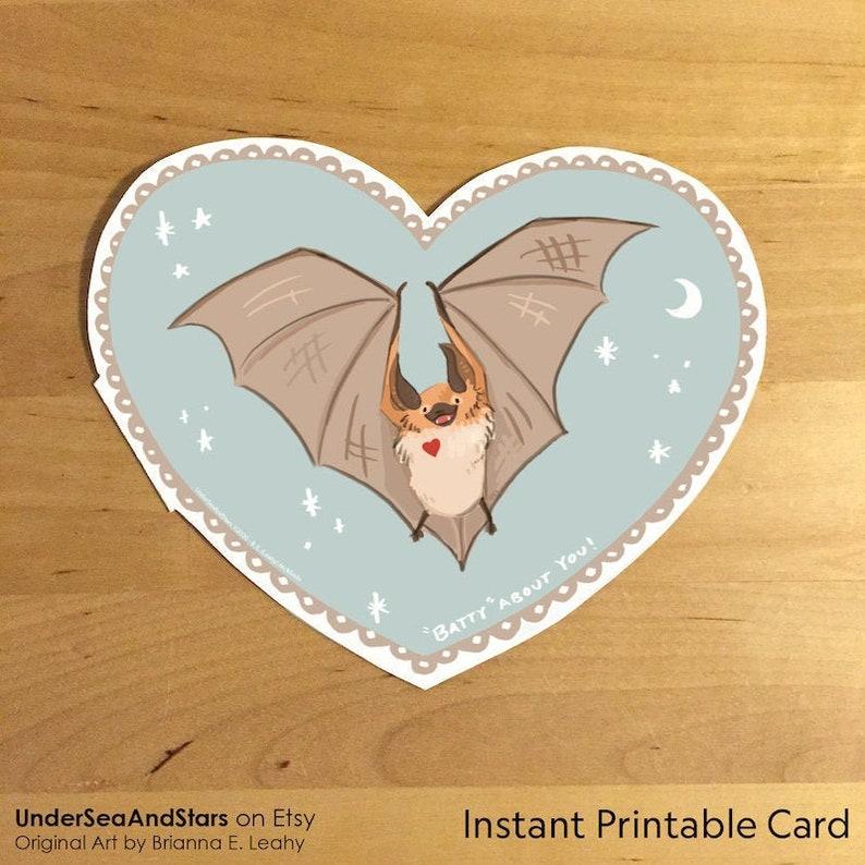 Batty About You Bat Valentine Card 5x4 Printable image 0