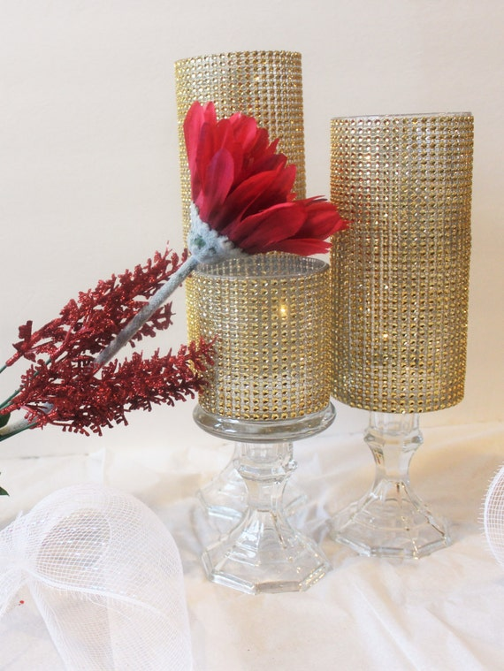 Set Of 3 Tall Gold Rhinestone Crystal Candle Holders Glass Etsy