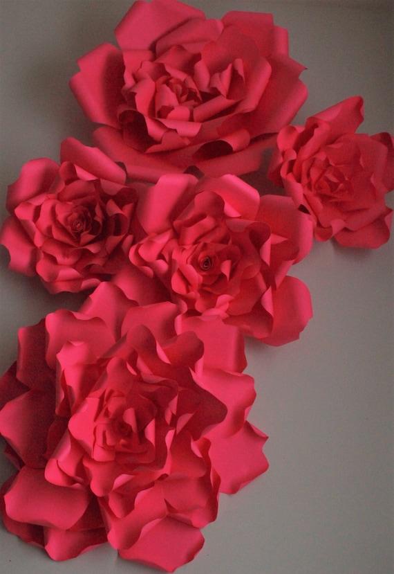 Geante Rouge Decor Fleur De Papier Decor Fleur Toile De Fond Etsy
