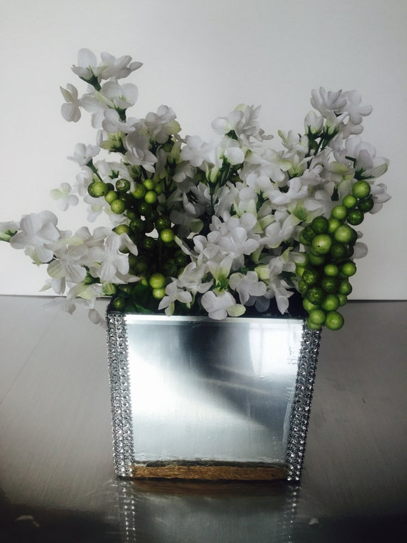 Square Glass Vase Mirror Design Home Accent Decor Faux White Etsy