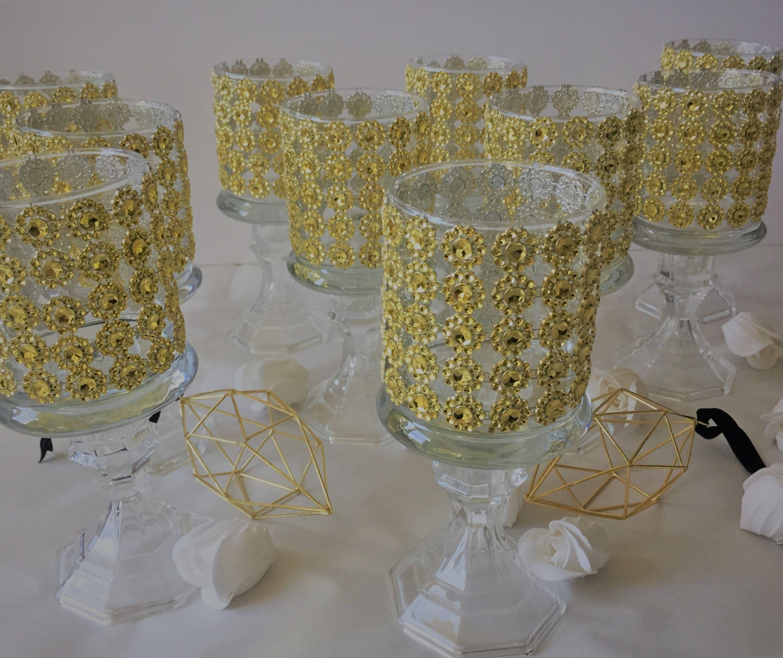 Set of 10 tall glass candle holder wedding centerpiece ...