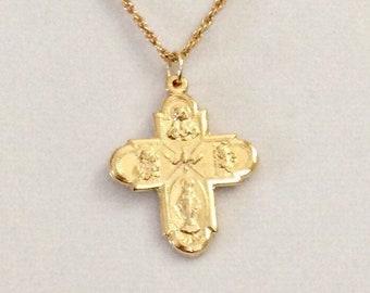848f8fe13cf Italian Five Way cross, four way cross, religious cross, gold Karatclad  cross, vintage 1 3/16