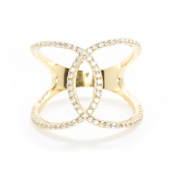 645569434 Cross Over ring Friendship Ring Dainty Ring Love Ring | Etsy