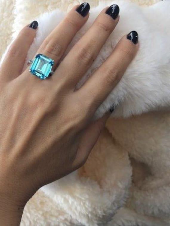 San Francisco design innovativo Nuova Meghan Markle anello, anello acquamarina, anello di taglio smeraldo,
