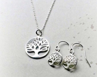 Tree of Life Jewellery Set, Sterling Silver Tree of Life Necklace, Gifts for Her, Gifts under 25, Tree of life Earrings, Mothers Day Gifts