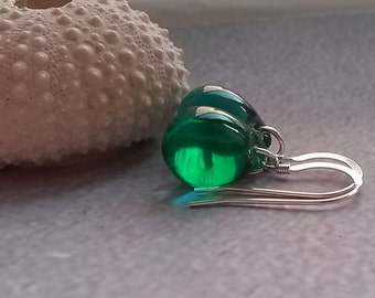Emerald Drop Earrings Glass Dangle Earrings Sterling silver Earrings Gifts for Her Gifts under 25 Christmas gifts for her