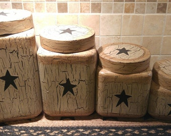 Primitive Crackle Painted Tan With Black Stars Glass Canisters, Set Of 4  Country Farm Kitchen Decor