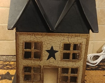 Primitive Crackle Tan and Black Star Medium Lighted Paper Mache Saltbox House