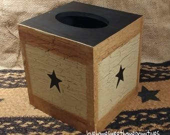 Primitive Crackle Painted Tan with Black Stars Wood Tissue Box Cover