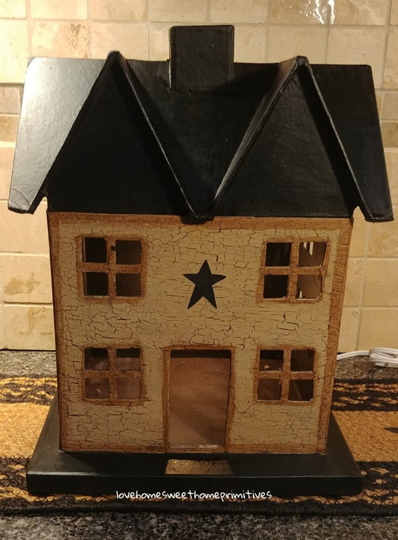 Primitive Wooden Tan Saltbox House Electric Lighted Country Farmhouse Decor