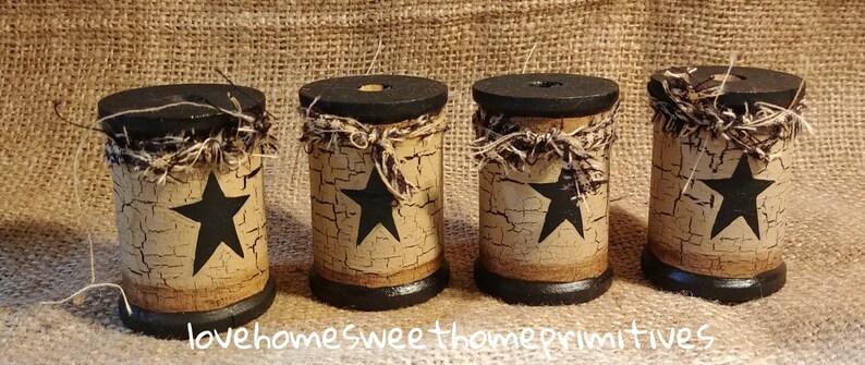 Primitive Crackle Painted Wood Spools Bowl Fillers Your Color Choice