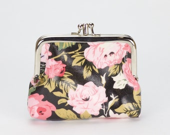 Double Coin Purse- Black Pink Rose Oilcloth vegan clasp wallet- Oil cloth Kissloch purse- Small ladies wallet- laminated cotton- travel card