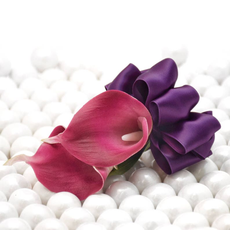 Fuchsia Hot Pink Rose Real Touch Calla Lily Corsage or Boutonniere