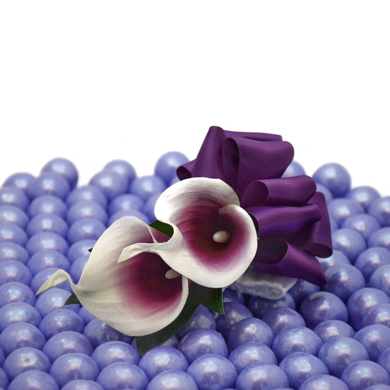 Plum Picasso Calla Corsage Select Ribbon and Pin Colors-Weddings and Proms Real Touch Picasso Calla Lilies with a Satin Wrist band