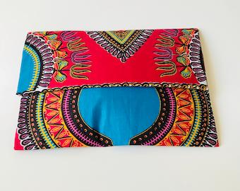 Pink Dashiki Clutch, Ankara Print, Ankara Fabric,