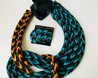 Teal and Yellow twisted Ankara Neckpiece/  African Neck Rope/ African Jewelry/ African Fashion/ Statement Necklace/ African Print necklace/