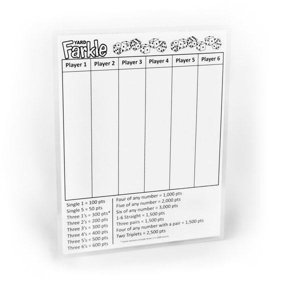 It is a picture of Printable Farkle Rules with regard to yardzee