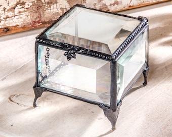 Crystal Glass Box Jewelry Box Beveled Glass Case Dresser Vanity Display Decorative Storage Keepsake Gift For Women Box 326