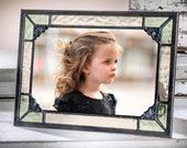 Picture Frame 5x7, 4x6 Green and Antique Yellow Stained Glass Vintage Photo Display Gift for Mom Baby Frame Pic 404-57HV