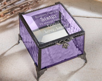 trinket Shabby chic personalised gift for a special sister Jewellery memory box keepsake