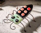 Bug Fairy Garden Accessories Terrarium Accent Collectible Fused Glass Art Patio Party Potted Plant Decor Critter Bug Figurine FSG 107