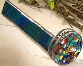 Kaleidoscope Stained Glass Green Blue Opalescent Double Wheel Fused Art Glass Gift for Dad Mom Collector Home Office Decor Kal 106