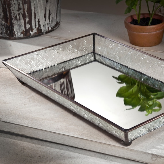 Glass Vanity Tray Mirrored Bottom With Clear Vintage Glass