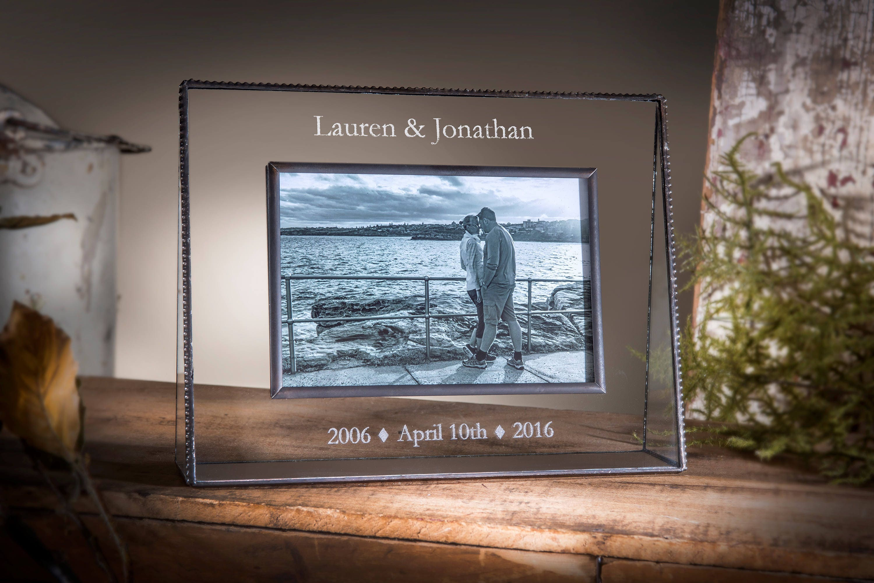 Personalized Anniversary Picture Frame Engraved Glass Photo | Etsy