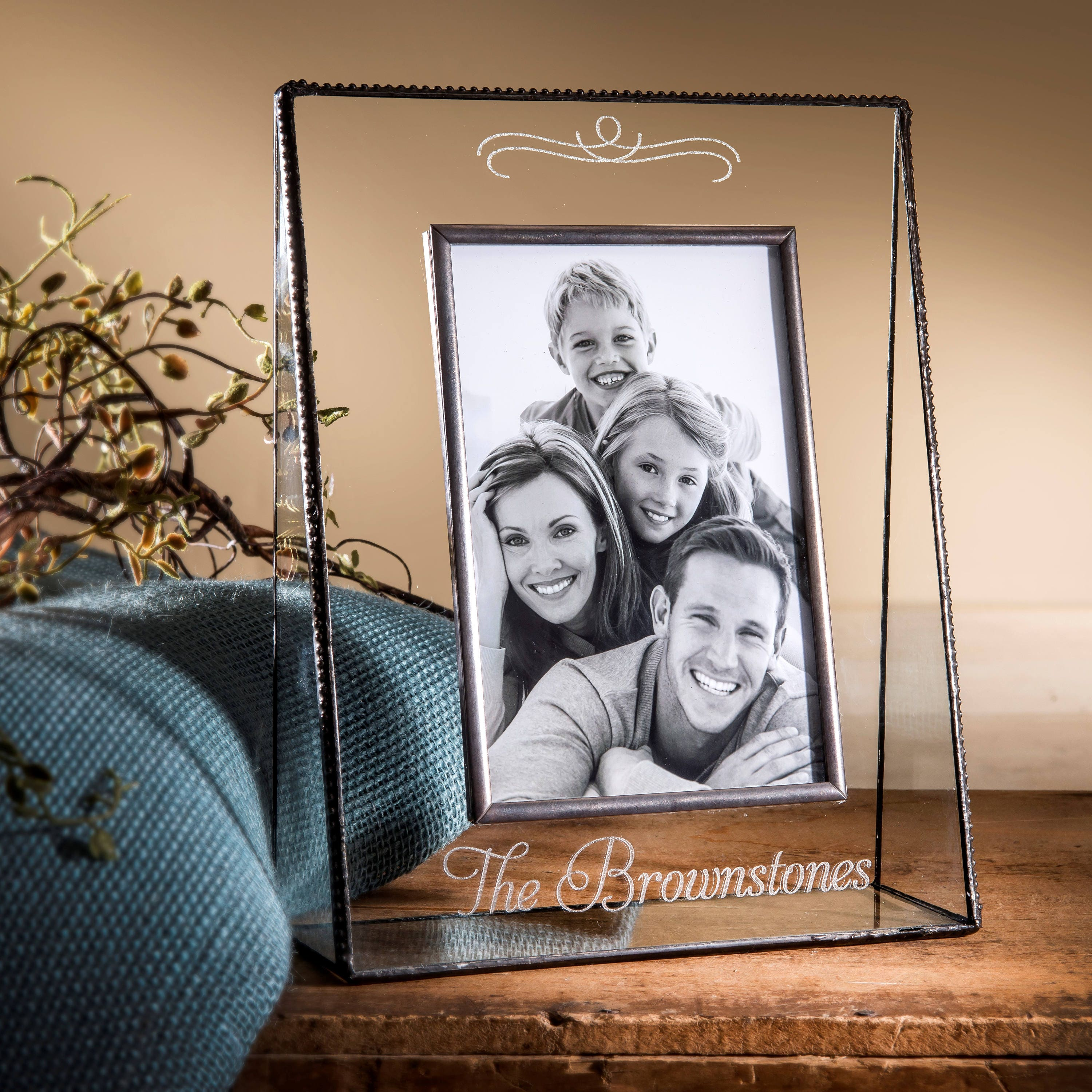 Family Picture Frame Engraved Glass Photo Frame Personalized | Etsy