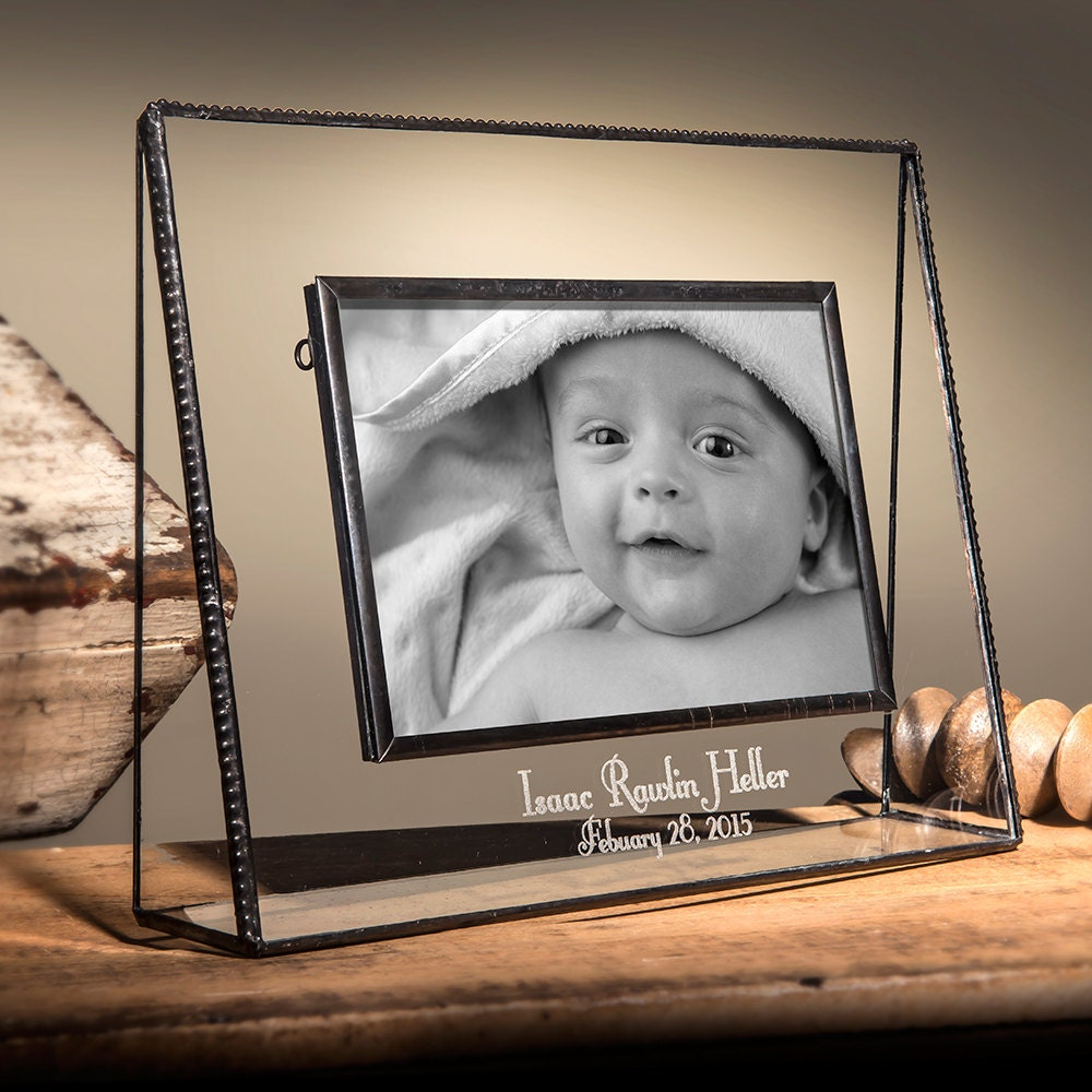 Baby Gift Personalized Picture Frame Engraved Glass Photo | Etsy