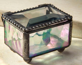 Wedding Ring Box Glass Box Small Clear Iridescent Stained Glass Ring Bearer Box Keepsake Jewelry Box Engagement Ring Box Earring  Box 325